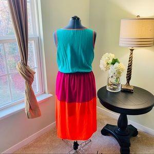 Allen B. By Allen Schwartz Dresses - Allen B Sleeveless Colorblock Midi Dress Size 16